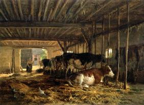 Kuyck, Jean Louis van : The Cow shed