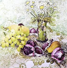 Figs, Grapes and Pears with Marguerites (w/c)