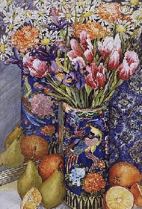 Tulips in a Japanese Vase with Fruit (w/c)