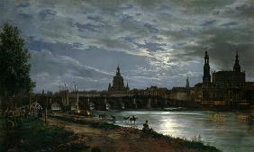 Look at Dresden at full moonlight