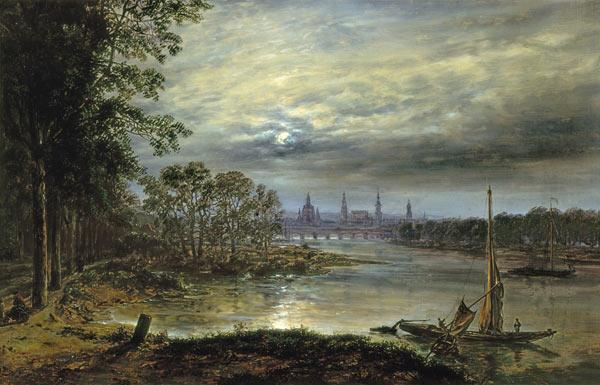 View of Dresden in moonlight