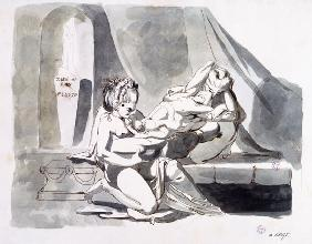 F�ssli, Johann Heinrich : Erotic scene of a man with...