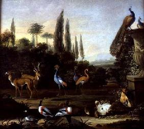 A Park Landscape with Deer and Exotic Birds
