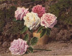 Roses in an Earthenware Vase by a Mossy Bank