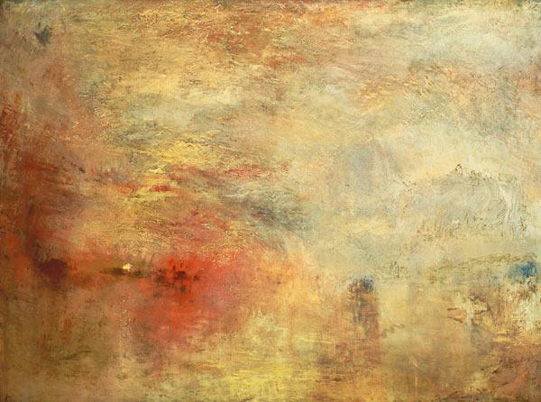 Turner, William : Sundown over a lake