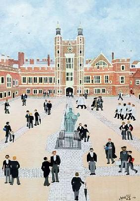 Eton College School Yard, 1991 (w/c)