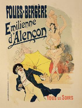 Reproduction of a poster advertising 'Emile d'Alencon', every evening at the Folies-Bergeres