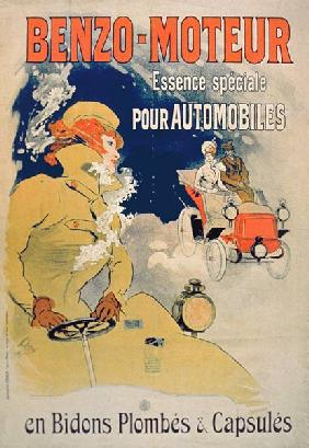 Poster advertising 'Benzo-Moteur' Motor Oil Especially for Automobiles