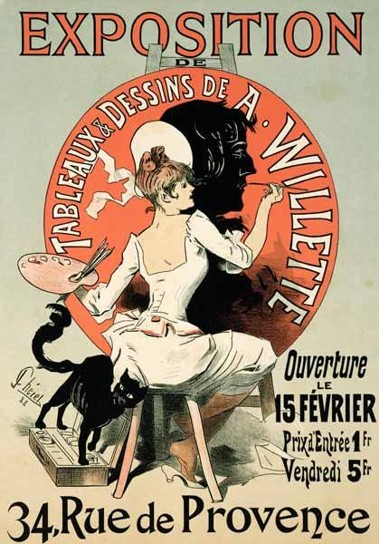 Reproduction of a poster advertising an 'Exhibition of the Paintings and Drawings of A. Willette (18