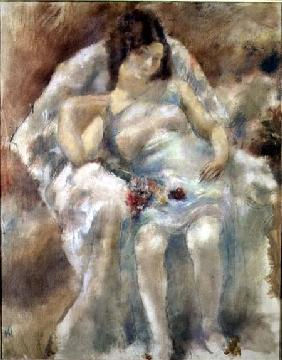 Young Woman Seated with Flowers