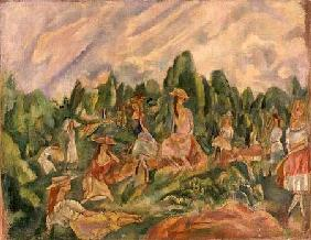Pascin, Jules : Young Women in a Landscape
