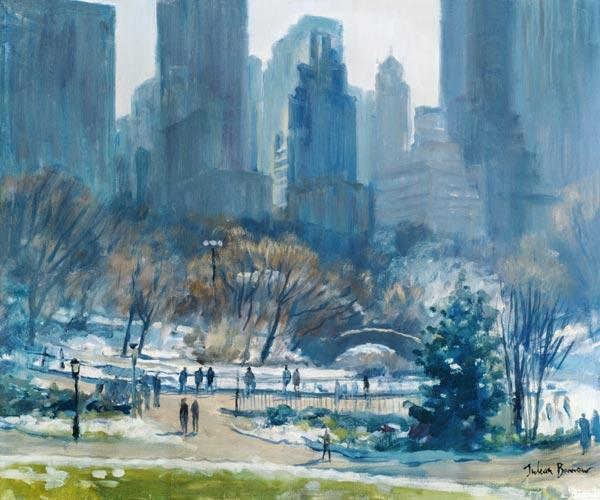 Winter in Central Park, New York, 1997 (oil on canvas)
