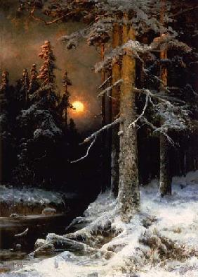 Wintry woodland landscape with full moon. 1880