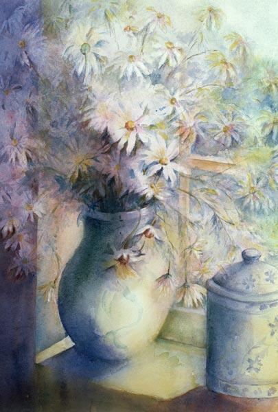 Asters - Snowsprite in jug on window sill