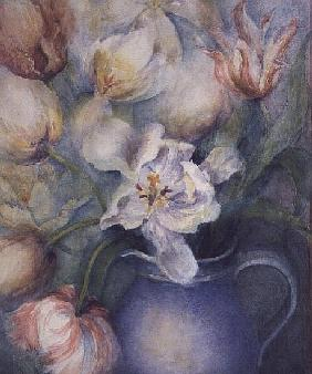Tulips in a blue jug, white parrot and china pink