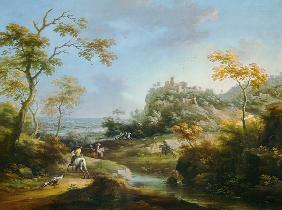 Landscape with stag-hunt.