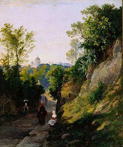 Mark�, K�roly : Landscape with view of Rom...