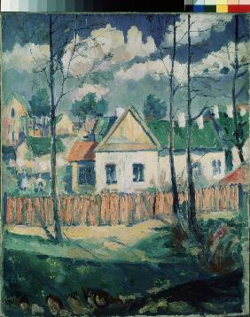 Spring. Landscape with a small house