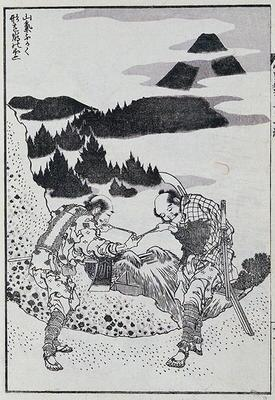 Two men, from a Manga (colour woodblock print)