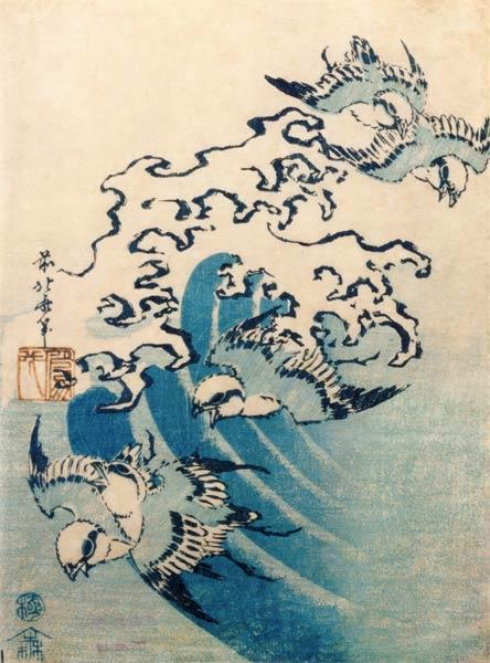 Waves and Birds, c.1825 (colour woodblock print)