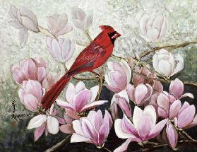 Cardinal, 2001 (gouache on rice paper)