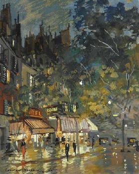 Café in Paris by night