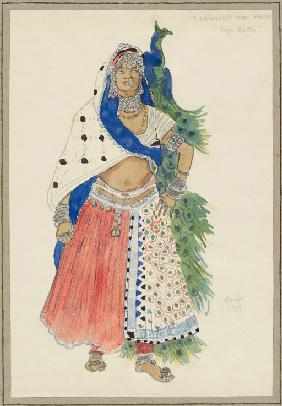 "Bayadere with peacock. Costume design for the Ballet ""Blue God"" by R. Hahn"