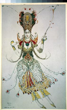 Firebird. Costume design for the ballet The Firebird (L'oiseau de feu) by I. Stravinsky