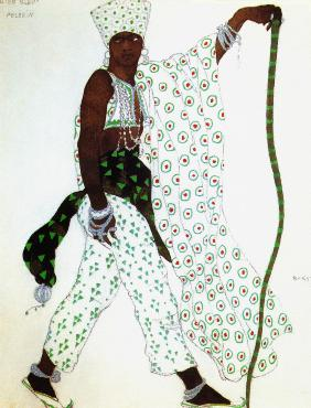 "Costume design for a piligrim for the Ballet ""Blue God"" by R. Hahn"