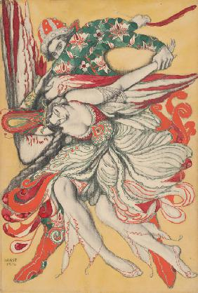 "Poster design for the ballet ""The Firebird"" (""L'Oiseau de feu"") by I. Stravinsky"