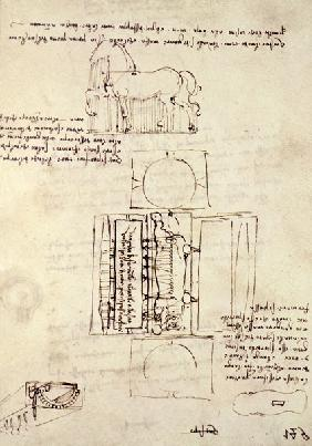 Codex Madrid I/149-R Sketch of a Horse and various other diagrams (pen & ink on paper)
