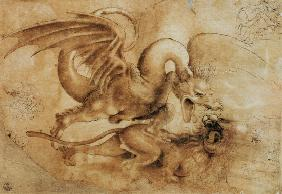 da Vinci, Leonardo : Fight between a dragon and...