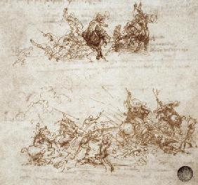Page from a notebook showing figures fighting on horseback and on foot (sepia ink on linen paper)