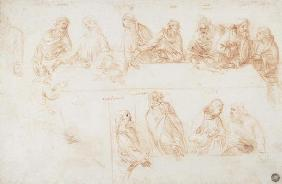 Preparatory drawing for the Last Supper (sepia ink on linen paper)