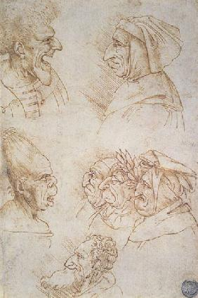 Seven Studies of Grotesque Faces