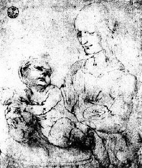 Study of a Madonna and Child (pen & ink)