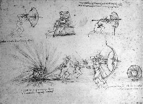 Study with Shields for Foot Soldiers and an Exploding Bomb, c.1485-88 (pen and ink on paper)