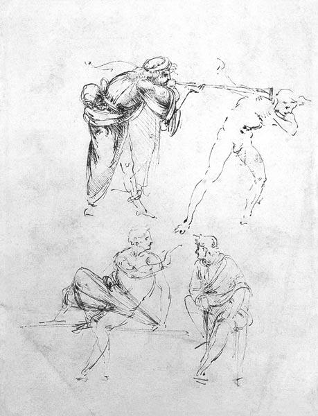 da Vinci, Leonardo : Study of a man blowing a t...
