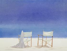 Chairs on the beach, 1995 (acrylic on canvas)