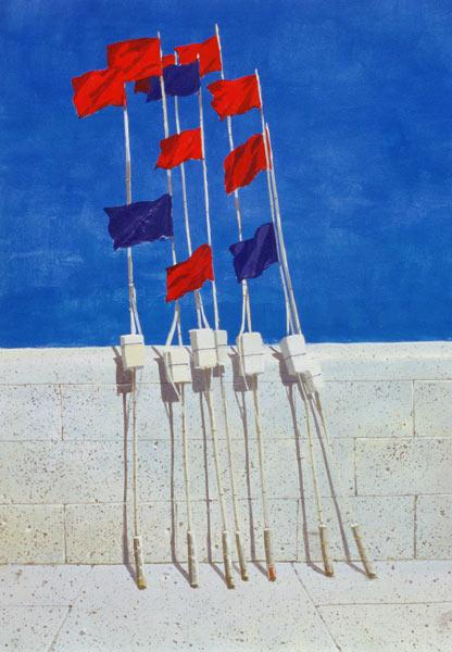 Lobster Buoys, 1990s (acrylic on paper)