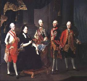Empress Maria Theresa of Austria (1717-80) with four of her sons; (LtoR) Joseph (1741-90), Ferdinand