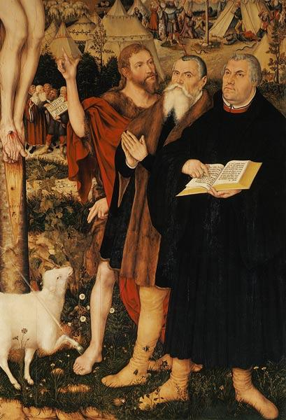 Cranach altar of the Peter-u.Paul church in Weimar Luther, Cranach u.Johannes unte the cross (detail