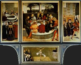 Triptych, left panel, Philipp Melanchthon performs a baptism assisted by Martin Luther; centre panel
