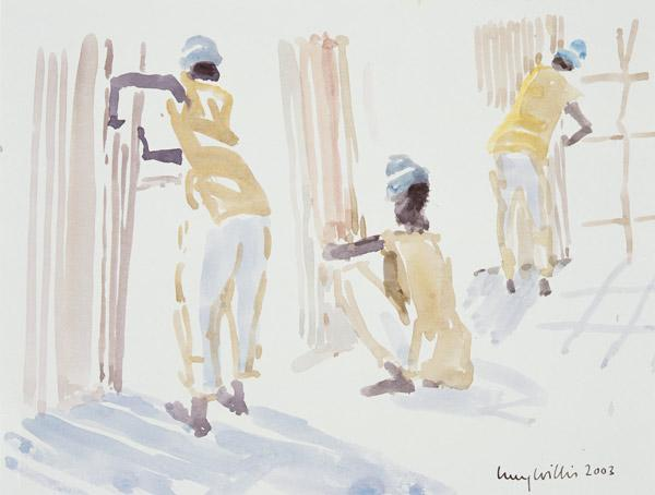 The Bamboo Fence, Senegal, 2003 (w/c on paper)