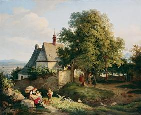 Richter, Ludwig : The church at Graupen in B...
