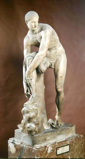 Hermes tying his sandal, Roman copy of a Greek original attributed to Lysippos