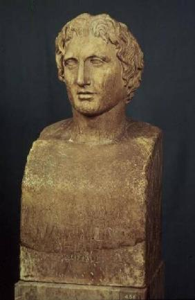Portrait bust of Alexander the Great (356-323 BC) known as the Azara herm