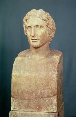 Portrait bust of Alexander the Great (356-323 BC) known as the Azara herm, Greek replica of 4th cent