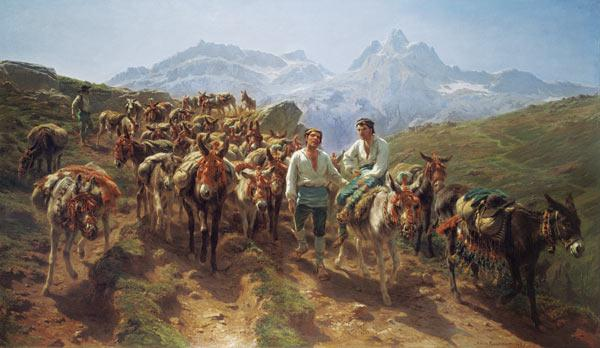 Mules when crossing the Pyrenees