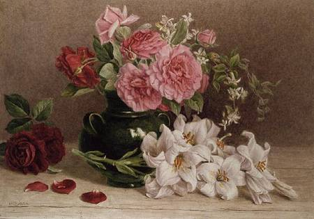 Roses And Lilies Mary Elizabeth Duffield As Art Print Or